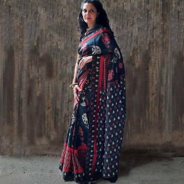 Upcycled Printed Cotton Sari: Red, Black and  White