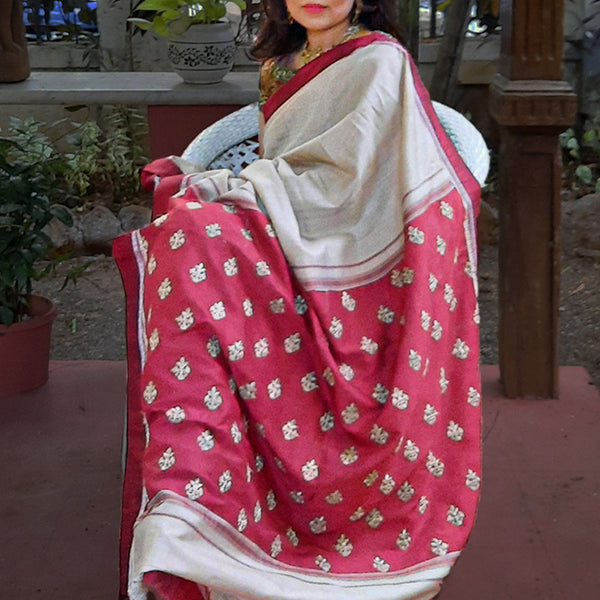 Upcycled Tussah Silk Sari: Natural and Red
