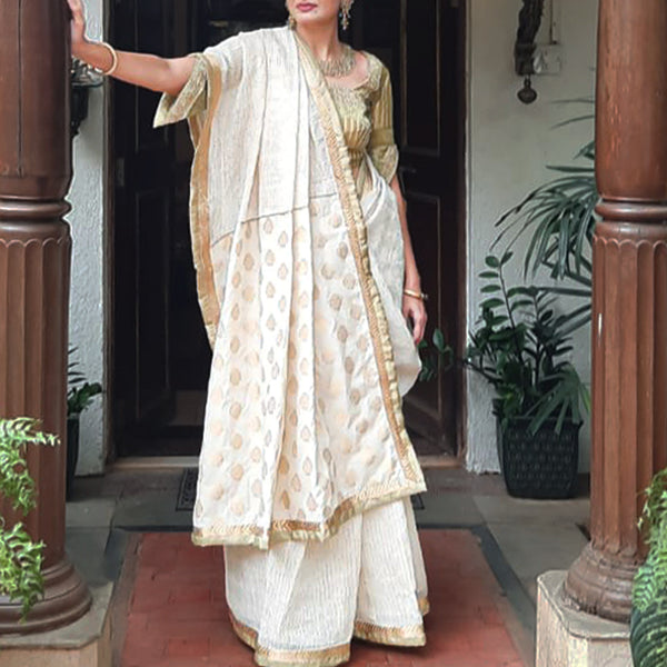 Upcycled Vintage Brocade Cotton Silk Sari: Pale Green and Gold