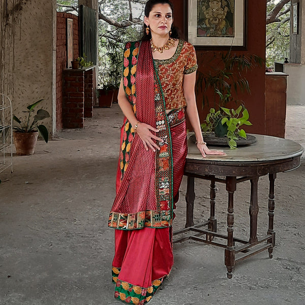 Upcycled Vintage Cotton-Silk Sari: Red