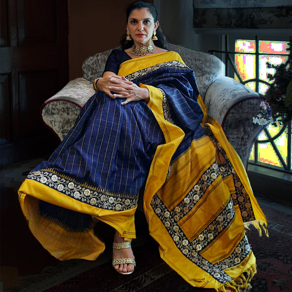 Upcycled Vintage Kanjivaram Silk Sari: Deep Blue and Golden Yellow