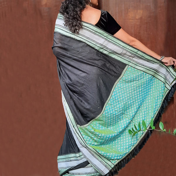 Upcycled Vintage Muslin Sari: Black and Green