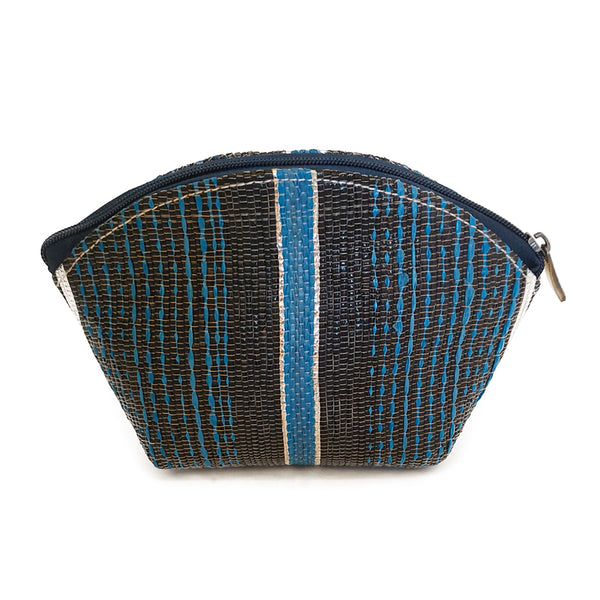 Upcycled Plastic Cosmetic Pouch : Black and blue stripes