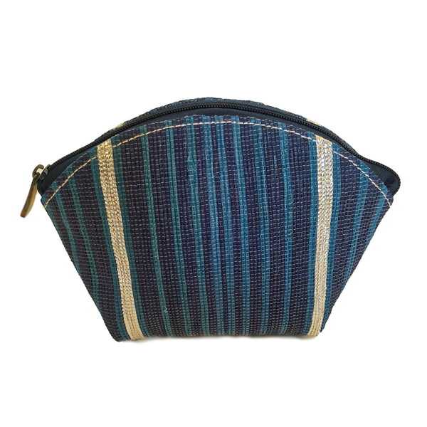 Upcycled Plastic Cosmetic Pouch : Navy Blue, Turquoise and Silver stripes