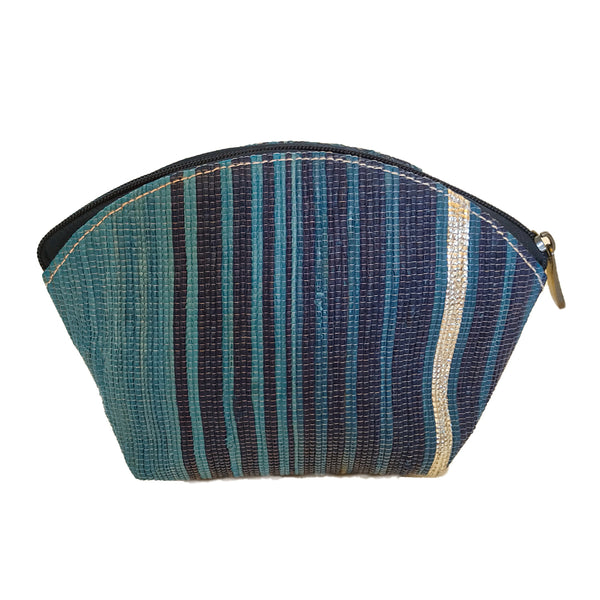 Upcycled Plastic Cosmetic Pouch : Turquoise, Navy Blue and Silver stripes