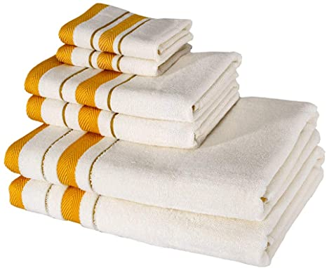 6 Piece Towel Set, Combed Cotton 650 GSM, Ultra Soft Luxurious Beige and Yellow