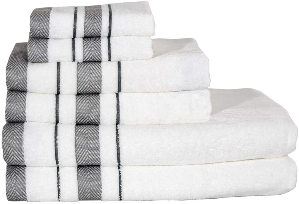 6 Piece Towel Set, Combed Cotton 650 GSM, Ultra Soft, Luxurious White Color