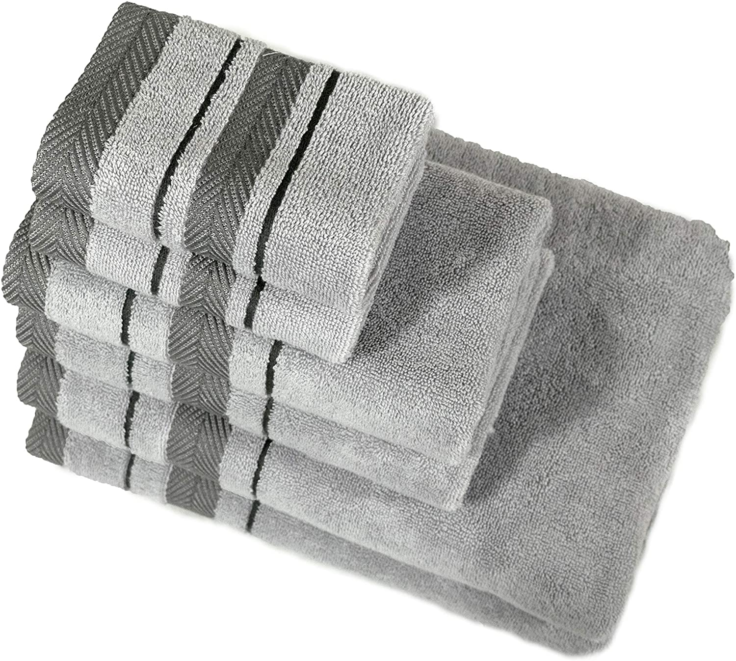 6 Piece Towel Set, Combed Cotton 650 GSM, Ultra Soft Luxurious Gray Color