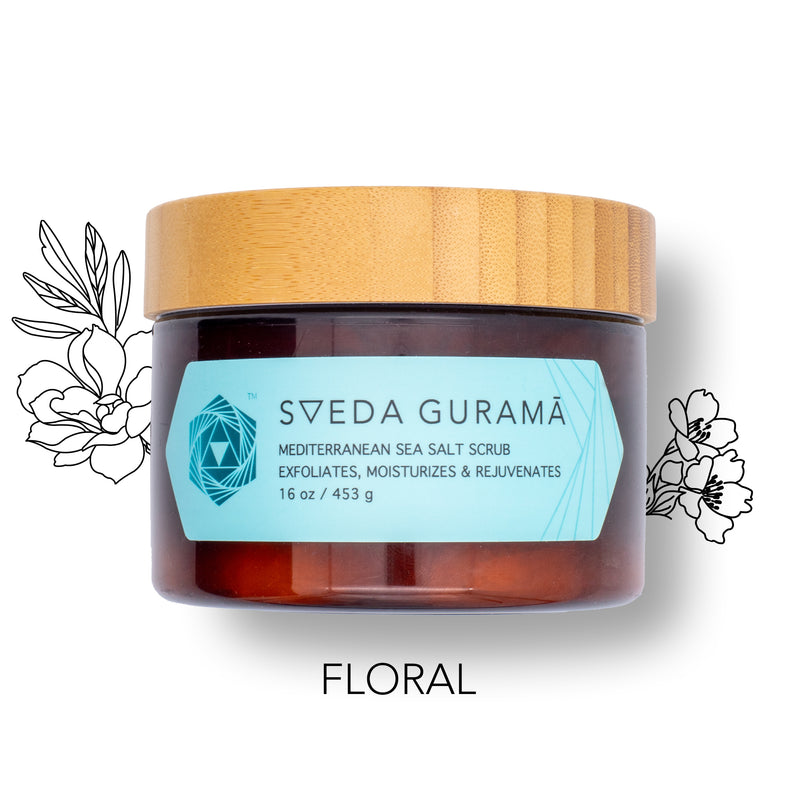 SVEDA GURAMA - Mediterranean Salt Scrub to exfoliate, rejuvenate & moisturize in 30 seconds! Solution to dry, itchy skin with essential oils.