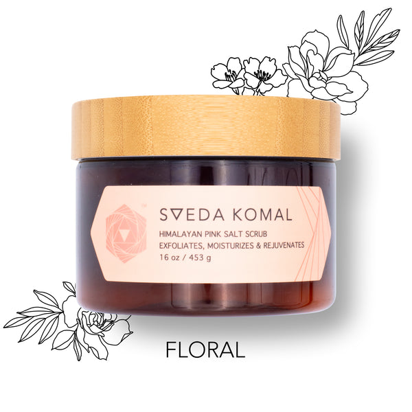 Sveda Komal Himalayan Pink Salt Scrub to exfoliate, rejuvenate & moisturize in 30 seconds! Solution to dry, itchy skin with essential oils.