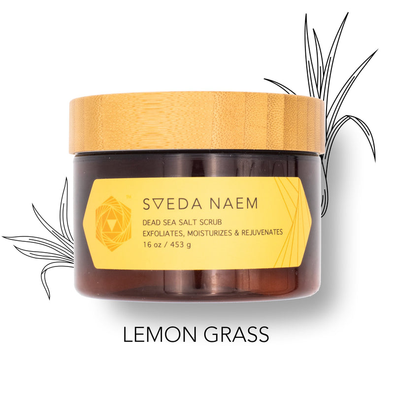 Sveda Naem Dead Sea Salt Scrub to exfoliate, rejuvenate & moisturize in 30 seconds! Solution to dry, itchy skin with essential oils.