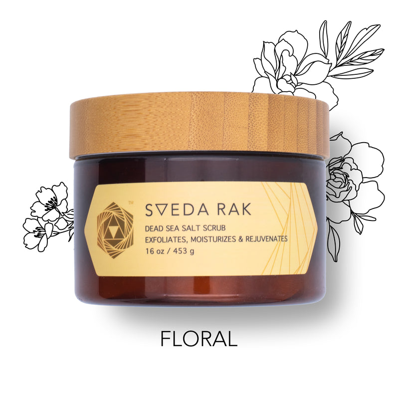 Sveda Rak Dead Sea Salt Scrub to exfoliate, rejuvenate & moisturize in 30 seconds! Solution to dry, itchy skin with essential oils.