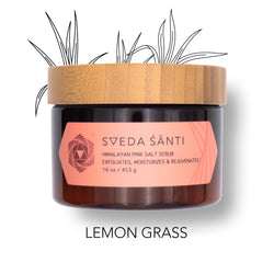 SVEDA Santi - Himalayan Pink Salt Body Scrub to exfoliate, rejuvenate & moisturize in 30 seconds! Solution to dry, itchy skin with essential oils.