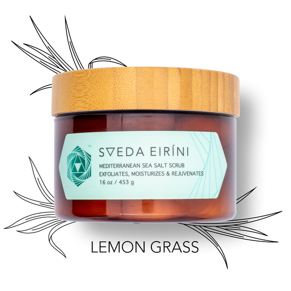 SVEDA EIRINI - Mediterranean Sea Salt Body Scrub to exfoliate, rejuvenate & moisturize in 30 seconds! Solution to dry, itchy skin with essential oils.