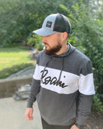 Calli Roam Ivy League Hoodie - Carbon Heather/White - Model 2