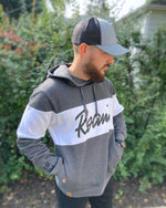Calli Roam Ivy League Hoodie - Carbon Heather/White - Model 1