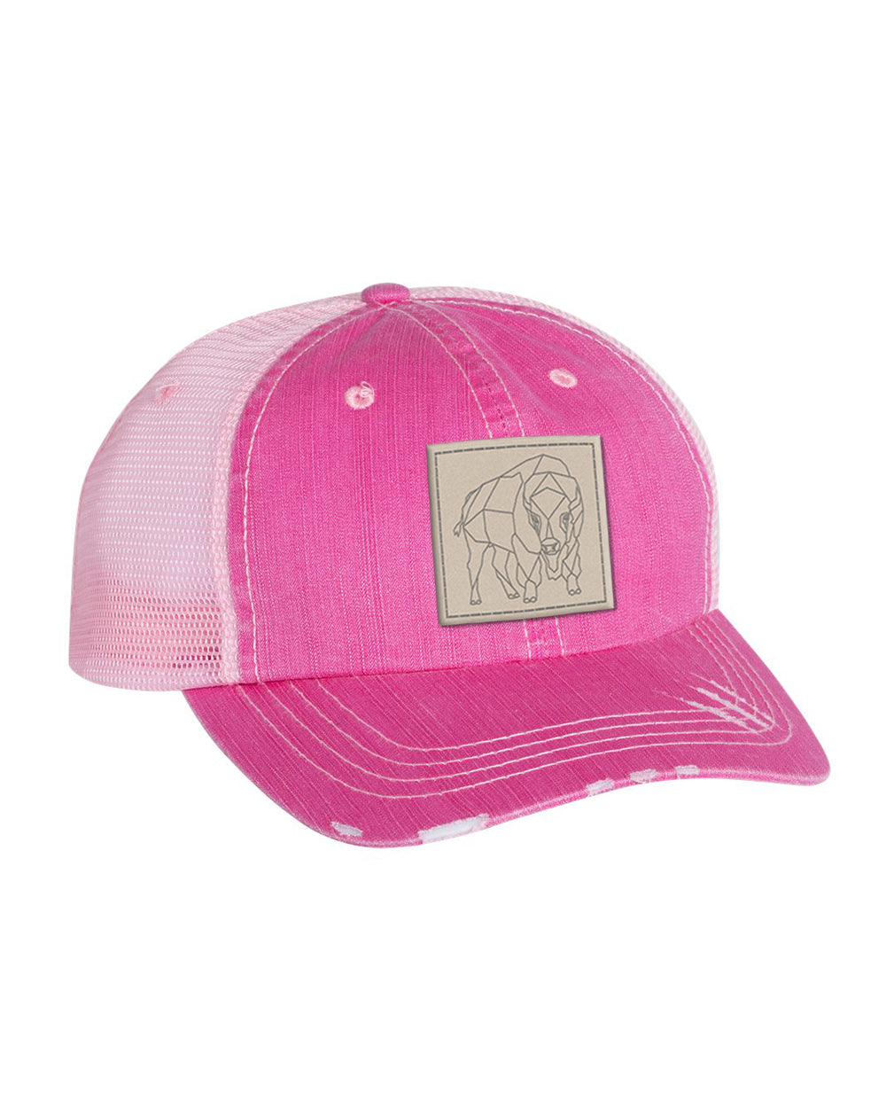 Bison Patch Unstructured Cap - Fuschia/Pink - Side