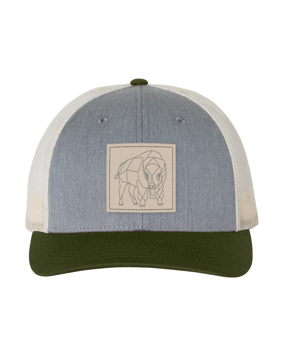 Bison Patch Snapback -  Heather Grey/Birch/Army - Front