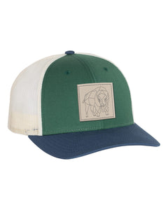 Bison Patch Snapback - Spruce/Birch/Light Navy - Side