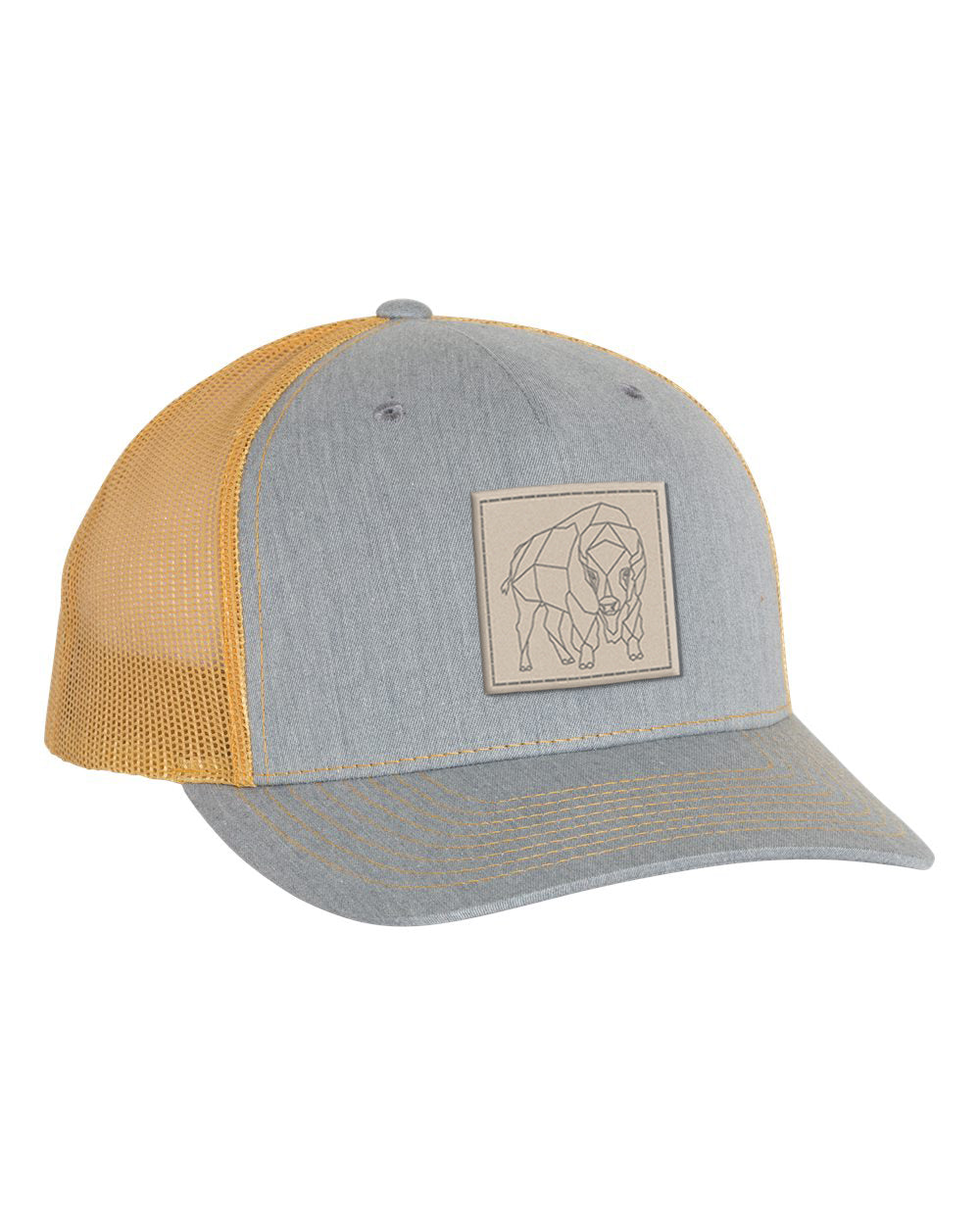 Bison Patch Snapback - Heather Grey/Amber Gold - Side