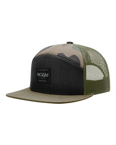 Mosaic Overlay Patch 7 Panel Snapback - Black/Camo/Loden - Side
