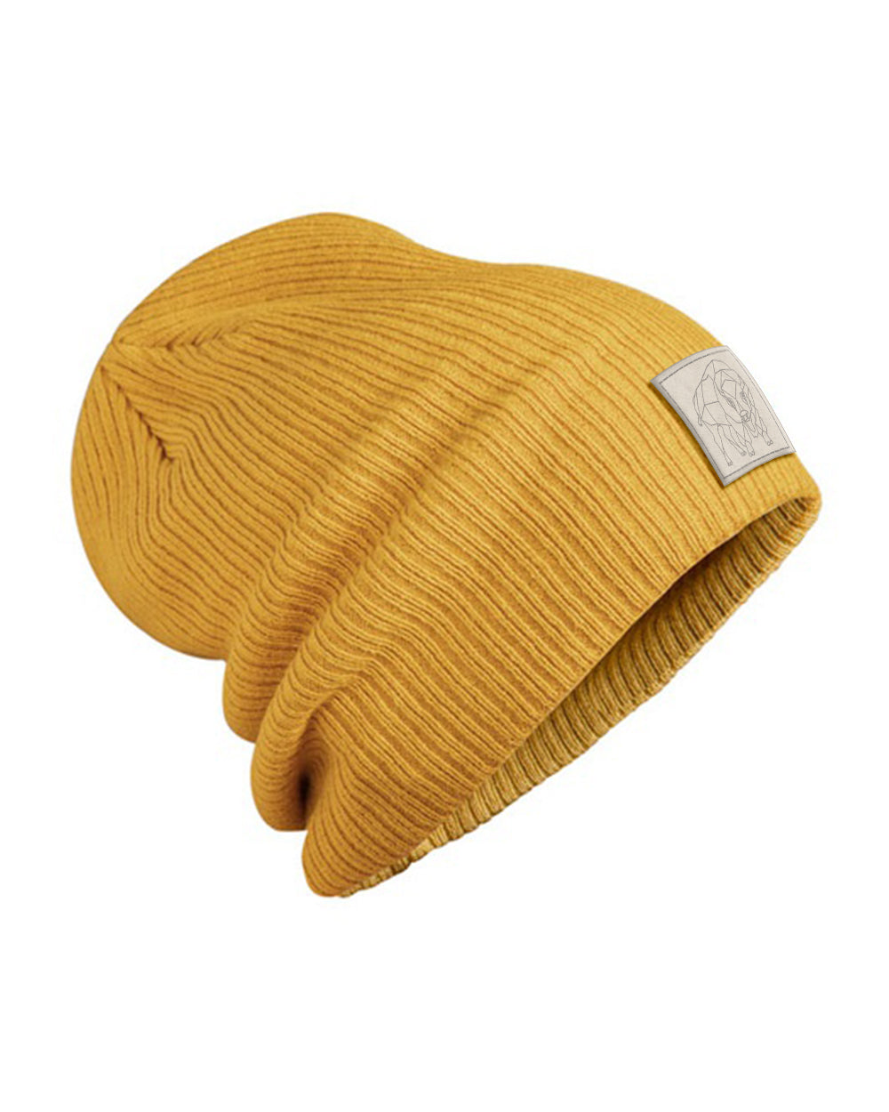 Bison Patch Slouch Beanie - Mustard