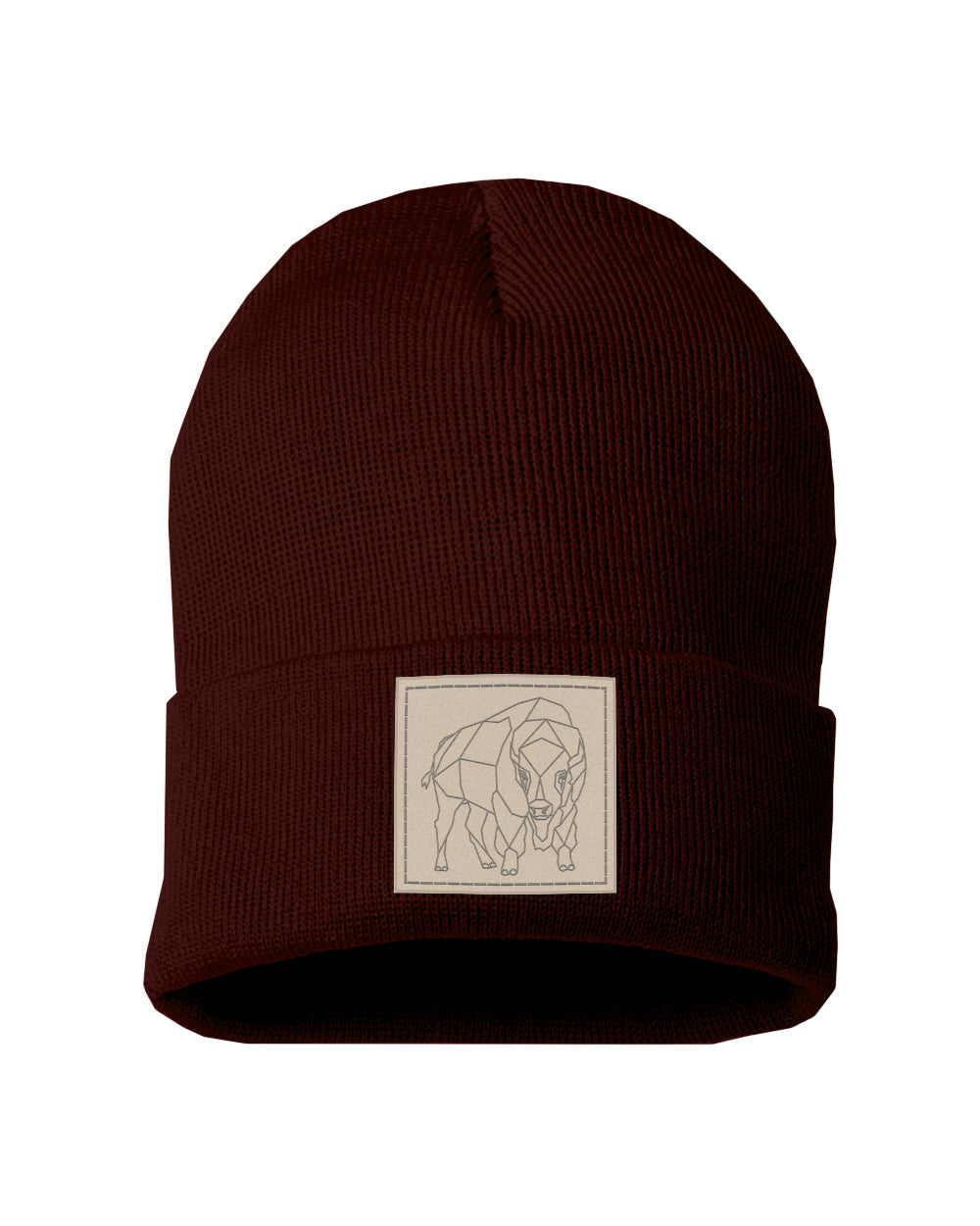 Bison Patch Solid Knit Beanie - Maroon