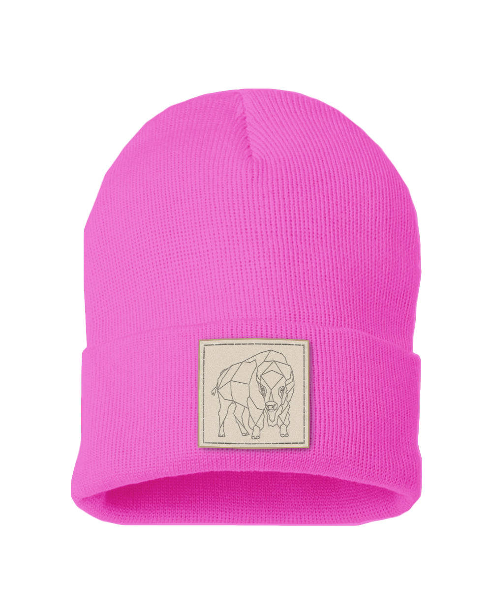 Bison Patch Solid Knit Beanie - Neon Pink