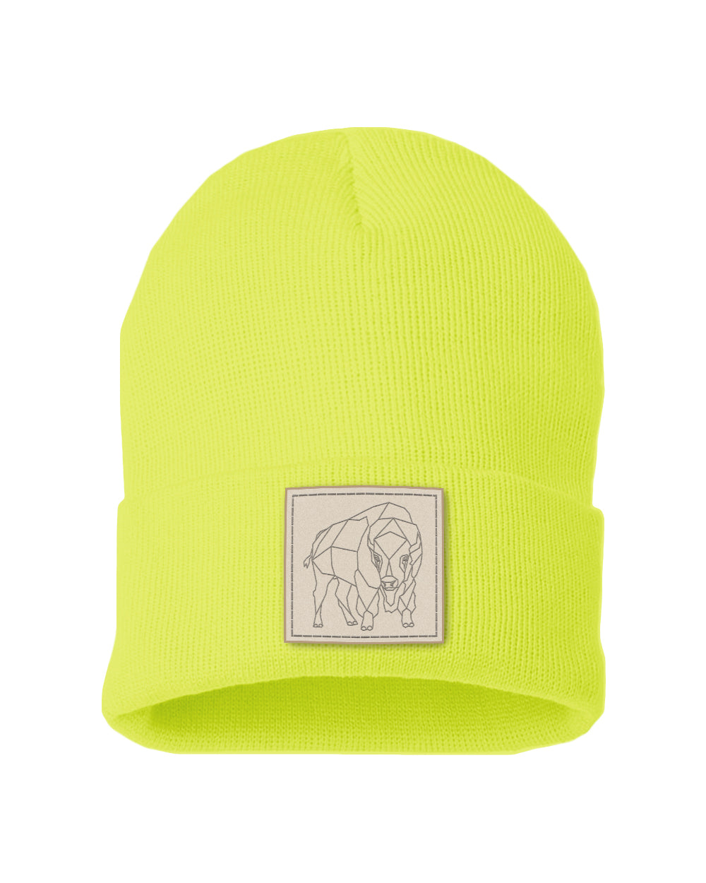 Bison Patch Solid Knit Beanie - Neon Yellow
