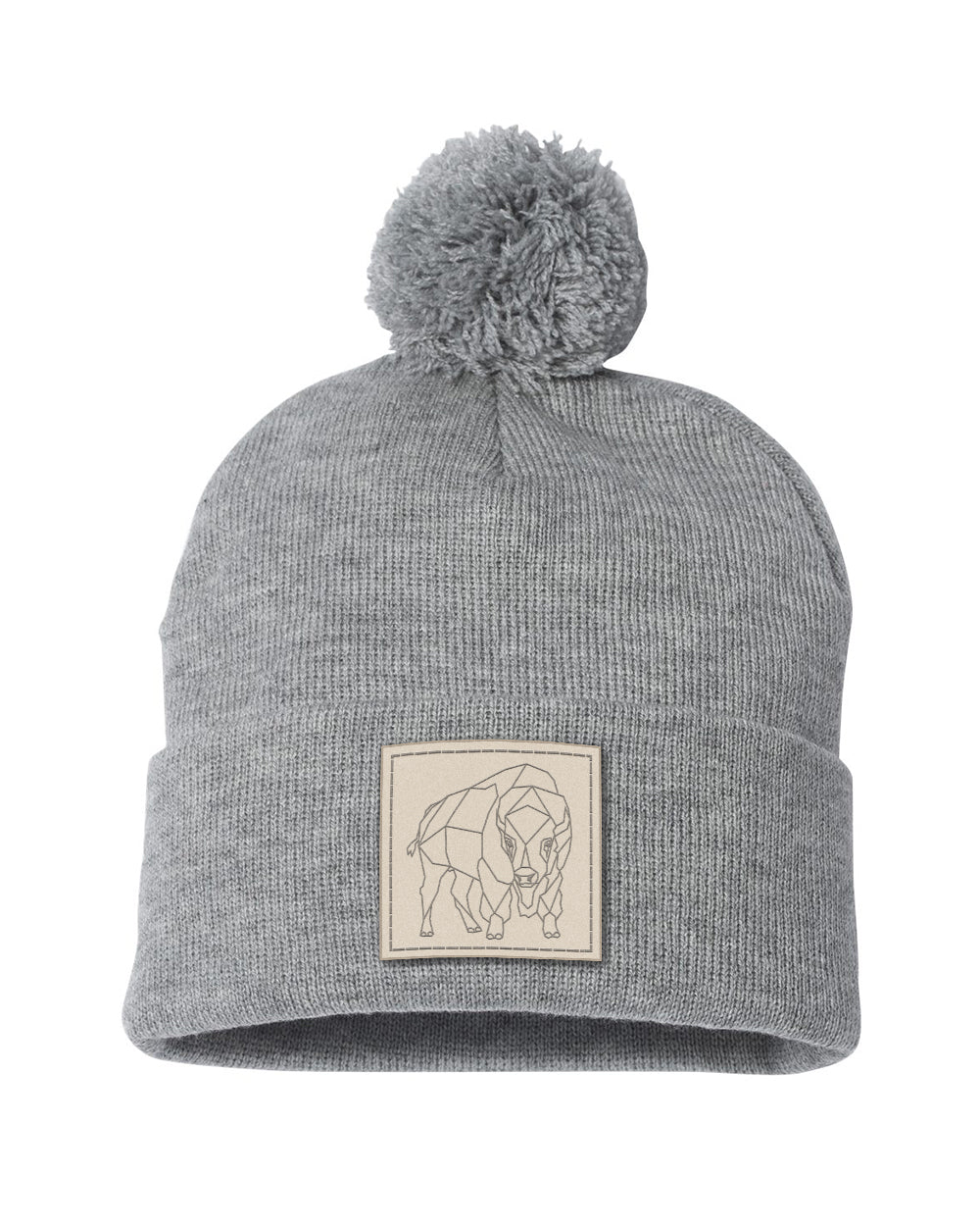 Bison Patch Pom Beanie - Heather Grey - Front
