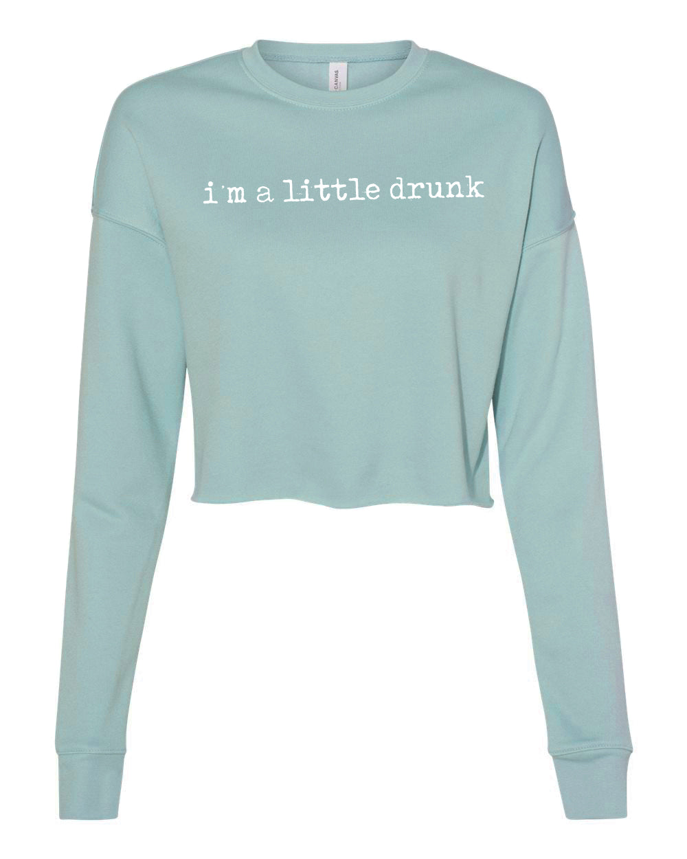 Women's Little Drunk Crop Crew - Dusty Blue - Front