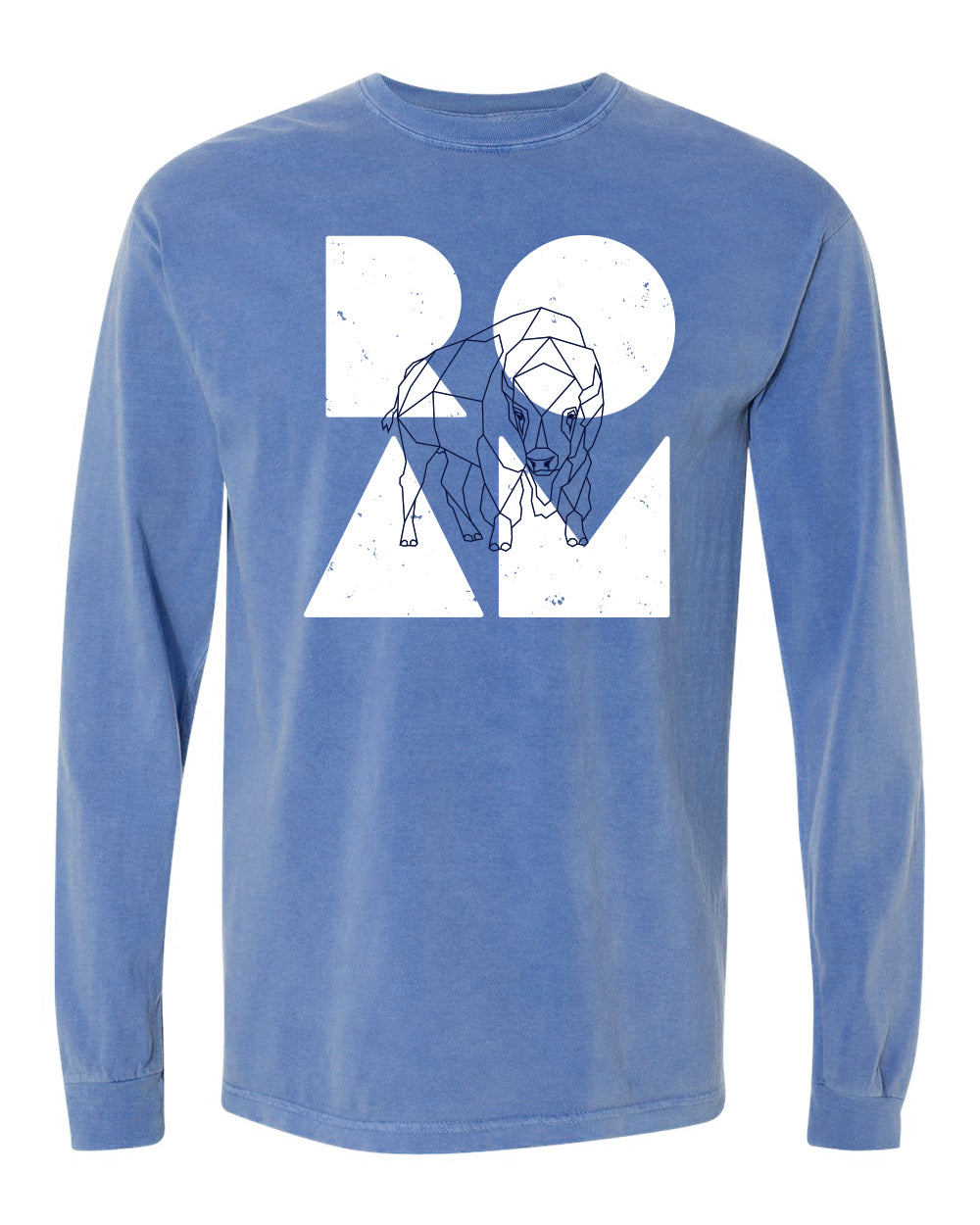 Bison Overlay Heavyweight Long Sleeve - <br> Flo Blue
