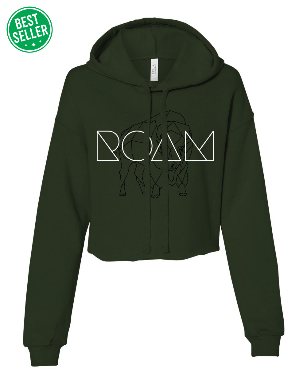 Women's Mosaic Overlay Crop Hoodie - Military Green - Front - BS