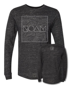 Roam Topo Map Long Sleeve - Charcoal Black - Both