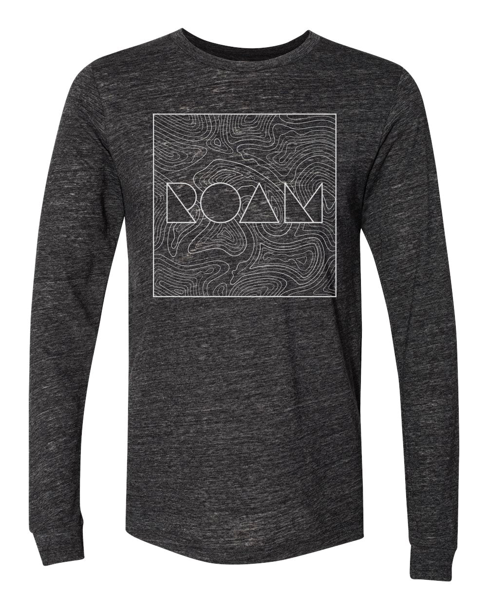 Roam Topo Map Long Sleeve - Charcoal Black - Front