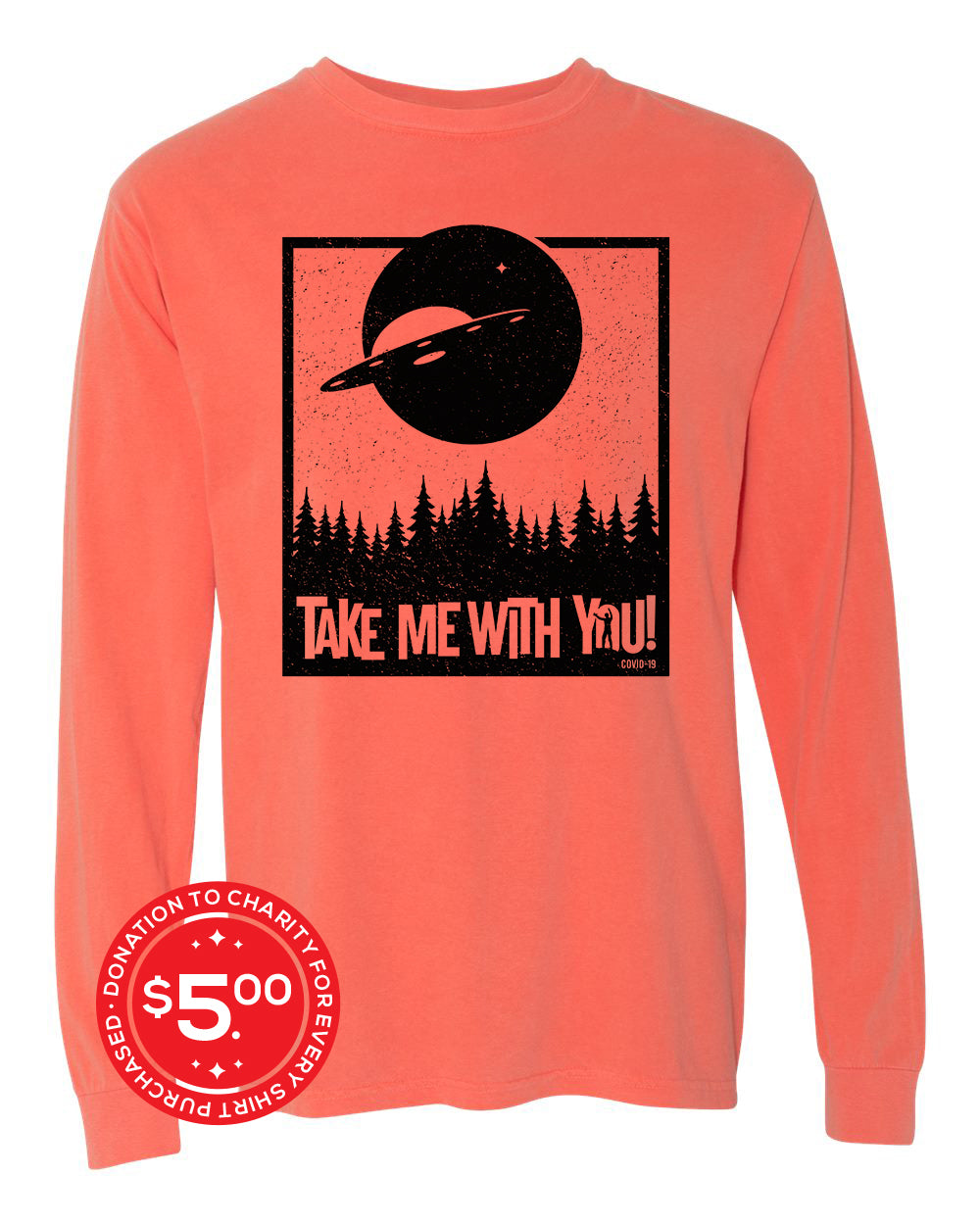 Take Me Long Sleeve Tee - Bright Salmon - Front - Donate 5