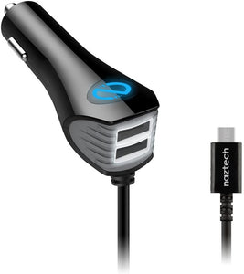 Naztech N420 Trio Micro USB Car Charger for Smartphones, Black 12433
