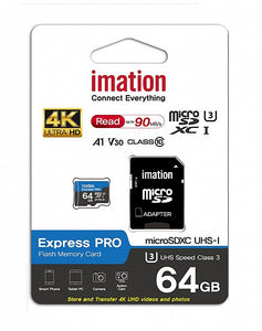 Micro SDXC™  64GB-128GB Express Pro, Imation A1 V30, ULTRA HD, Up to 90MB/s