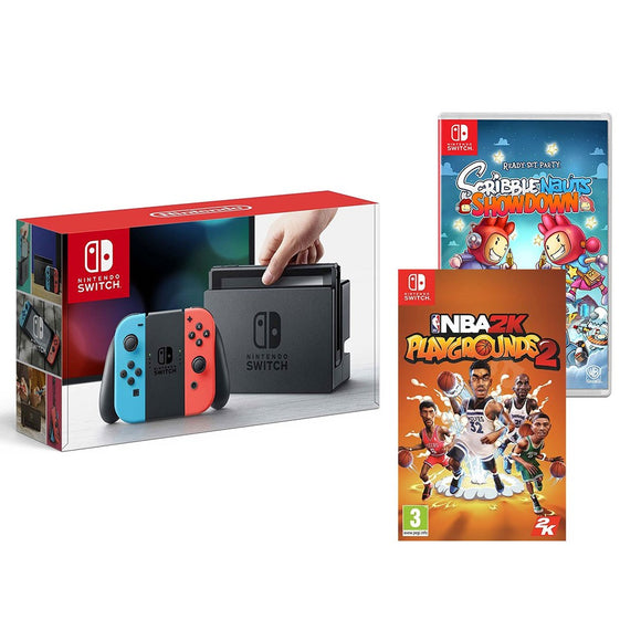 Nintendo Switch with Red/Blue Joy-Con and NBA2K, Scribblenauts Showdown