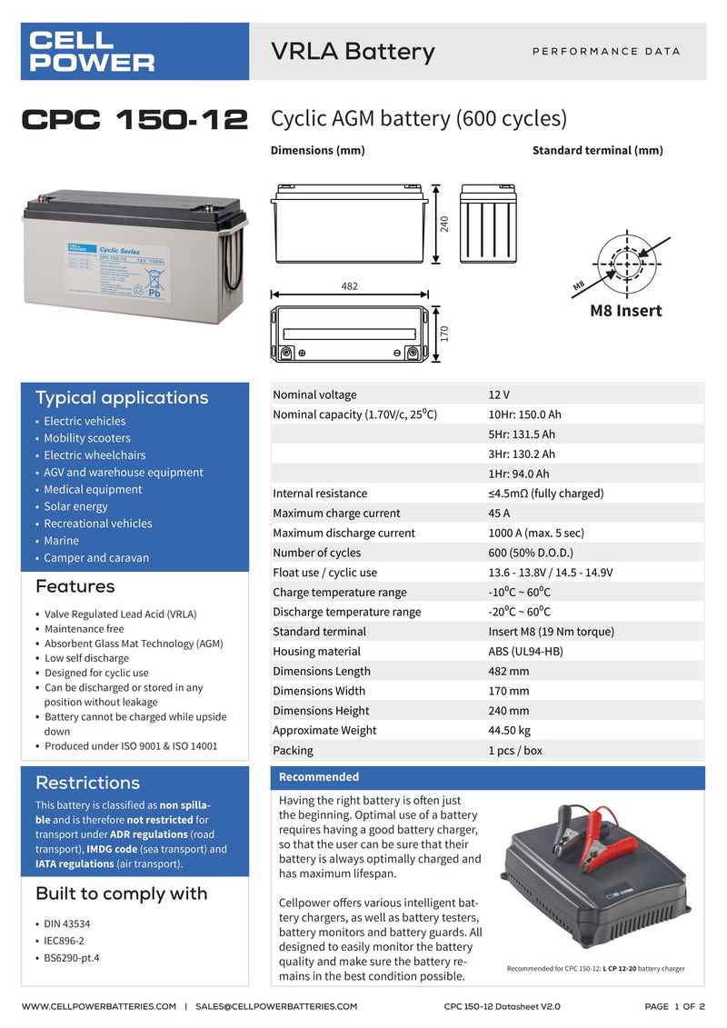 Cellpower 150Ah Cyclic Battery