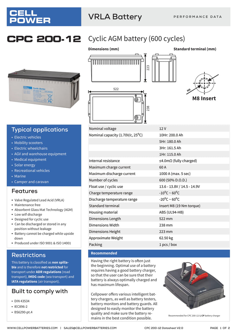 12V Cell Power 200Amp Cyclic Battery