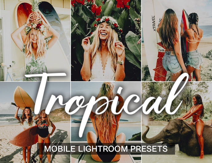5 Mobile Lightroom Presets Tropical, lightroom mobile presets instagram blogger warm beach presets influencer and vibrant preset - KatManDooPRESETS