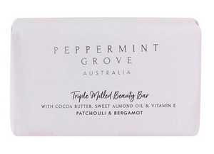Peppermint Grove Triple Milled Beauty Bar with Cocoa butter, sweet almond and Vitamin E- Gardenia