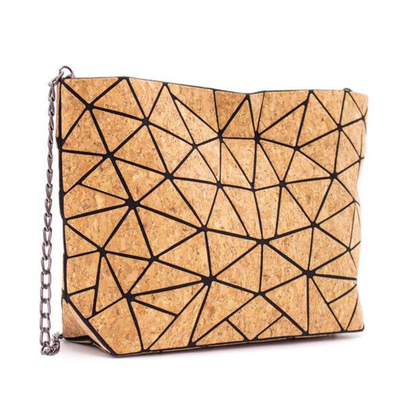 Geometric Cork Shoulder Bag with chain strap