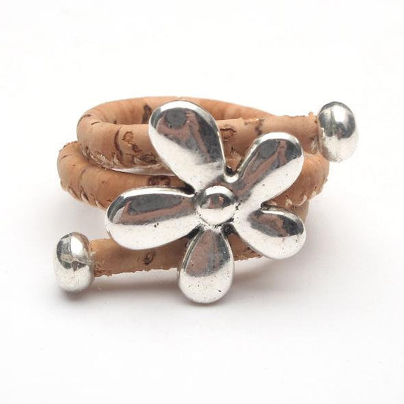 Handmade Cork Ring w/flower, Adjustable, Vegan, organic, Eco friendly, from Portugal, Plant Based, US seller, FREE return within 30 days
