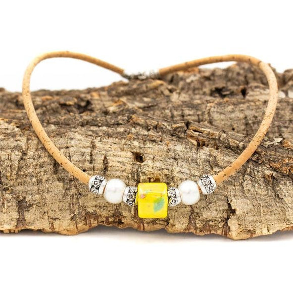 Handmade Cork Necklace w/Yellow Bead