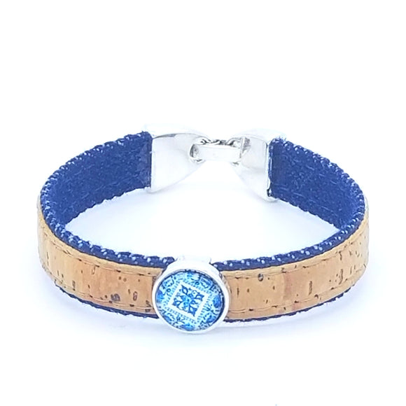 Handmade Cork Friendship Bracelet with Denim Fabric