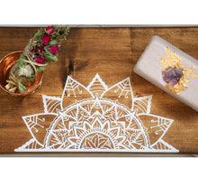 Load image into Gallery viewer, Natural Walnut Wood Bath Board with Mandala - Hotsy Totsy Haus