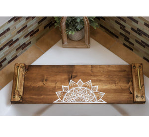 Natural Walnut Wood Bath Board with Mandala - Hotsy Totsy Haus