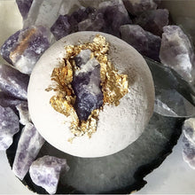 Load image into Gallery viewer, Royal Crown Chakra Bath Bomb 24-karat Gold Full Moon Charged Amethyst with Organic Hyaluronic Acid - Hotsy Totsy Haus